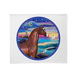 Wave/Horse( Ar-Brn) Throw Blanket