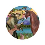 """St Francis/Horse (Ar-Br) 3.5"""" Button (100 pac"""