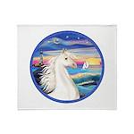 Wave/Horse (Ar-W) Throw Blanket