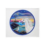 The Wave/Horse (Ar-W) Throw Blanket