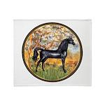 Spring/Arabian horse (blk) Throw Blanket