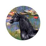 "Lilies/Arabian horse (blk) 3.5"" Button (100 p"