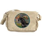 Lilies/Arabian horse (blk) Messenger Bag