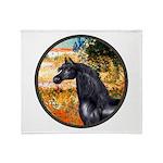 Garden/Arabian horse (blk) Throw Blanket