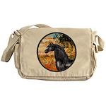 Garden/Arabian horse (blk) Messenger Bag