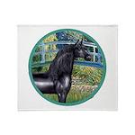 Bridge/Arabian horse (blk) Throw Blanket