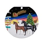 XmsSigns/3 Horses (Ar) Ornament (Round)
