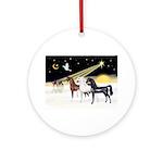 XmsDove/3 Horses (Ar) Ornament (Round)