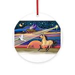 Xmas Star Buckskin Horse Ornament (Round)