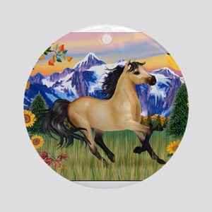 Mt. Country Buckskin Horse Ornament (Round)