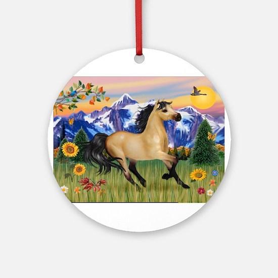 Mt. Country Buckskin Horse Ornament (Round)