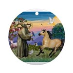 St. Francis & Buckskin horse Ornament (Round)