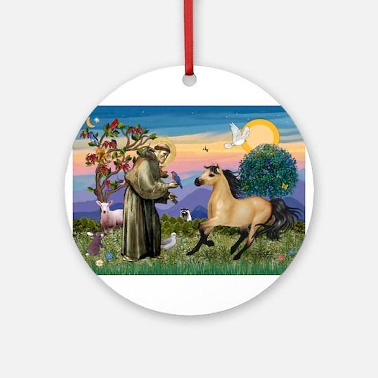 St. Francis & Buckskin horse Ornament (Round)