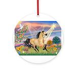 Cloud Star & Buckskin horse Ornament (Round)