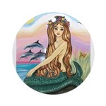 Mermaid and 3 Dolphins Ornament (Round)