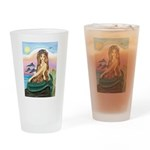 Mermaid and 3 Dolphins Drinking Glass