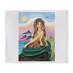 Mermaid and 3 Dolphins Throw Blanket