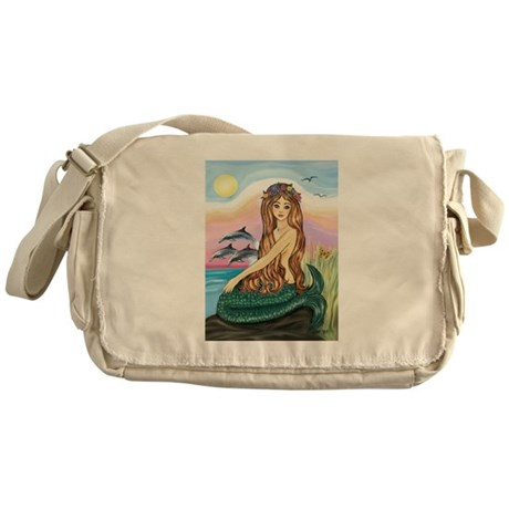 Mermaid and 3 Dolphins Messenger Bag