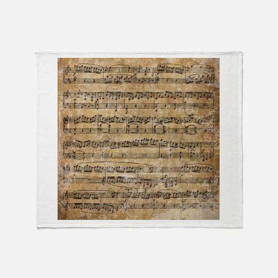 Vintage Sheet Music Throw Blanket