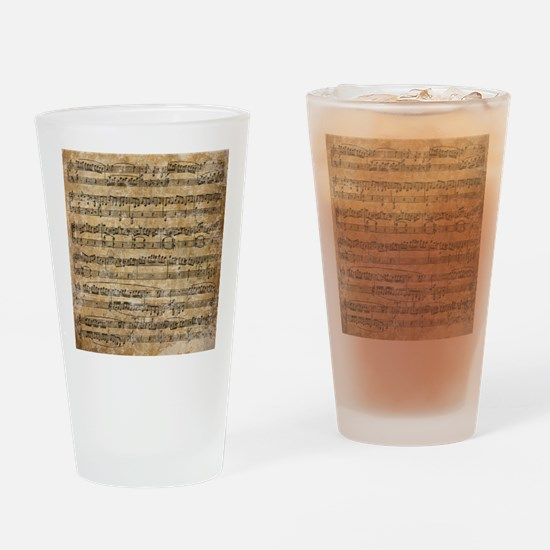 Vintage Sheet Music Drinking Glass