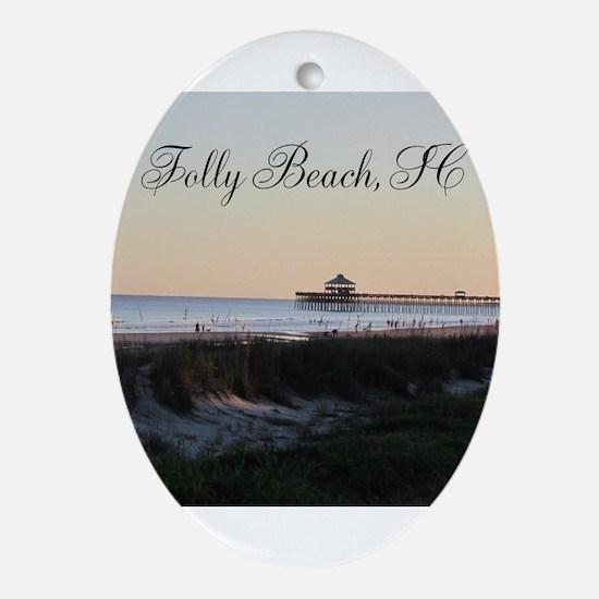 Folly Beach, SC Pier Ornament (Oval)