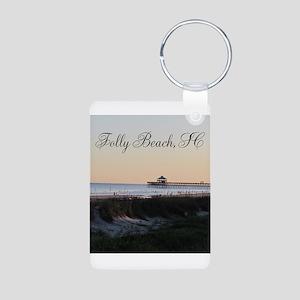 Folly Beach, SC Pier Aluminum Photo Keychain