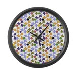 Spanish Stars and Windmills P Large Wall Clock