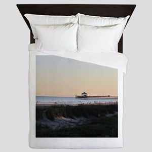 Folly Beach, SC Pier Queen Duvet