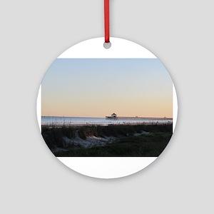 Folly Beach, SC Pier Ornament (Round)