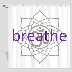 breathe Om Lotus Blossom Shower Curtain