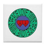 peace love twins Tile Coaster