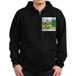 KNOTS Woodland Creatures Cartoon Zip Hoodie (dark)