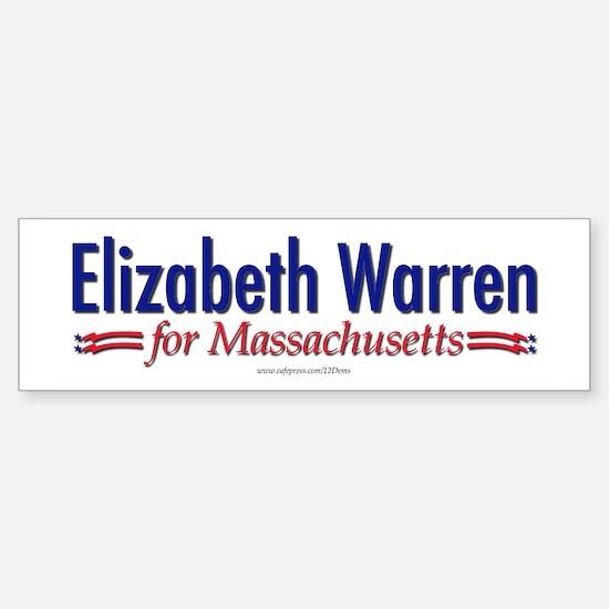 """""""Elizabeth Warren for MA"""" Bumper Bumper Sticker"""