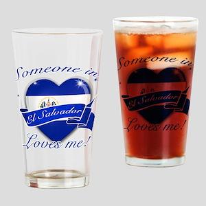 El Salvador Flag Design Drinking Glass