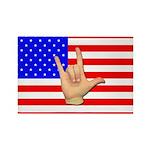 I Love USA in ASL Rectangle Magnet