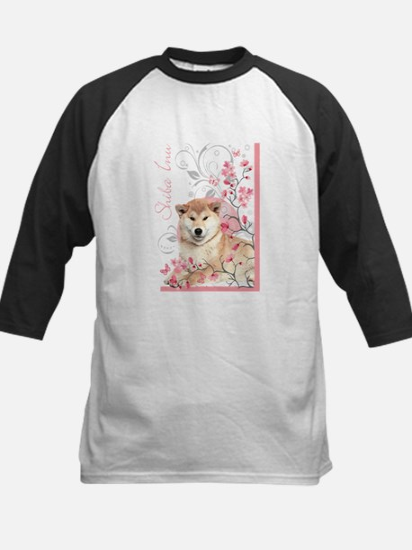 Cherry Blossom Shiba Inu Kids Baseball Jersey