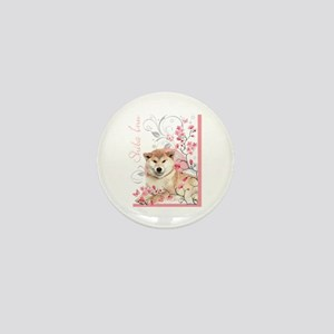 Cherry Blossom Shiba Inu Mini Button