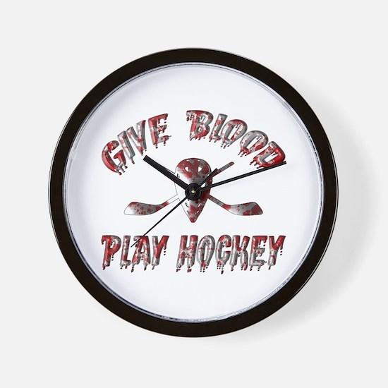 Give Blood Play Hockey Wall Clock