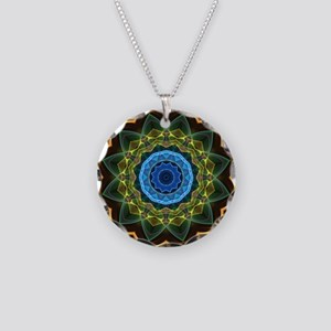Sky and Leaves Kaleidoscope Necklace Circle Charm