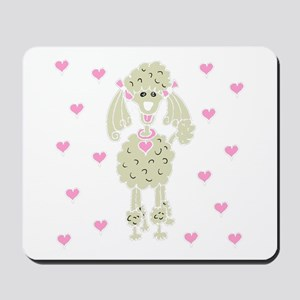 Cream Poodle with Hearts Mousepad