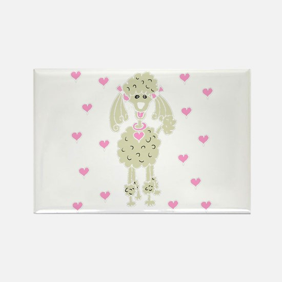 Cream Poodle with Hearts Rectangle Magnet