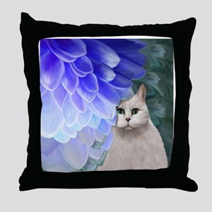 Cat with Zinnia Throw Pillow