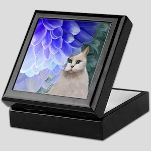 Cat with Zinnia Keepsake Box