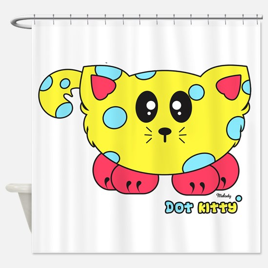 Dot Kitty Pudgie Pet Shower Curtain