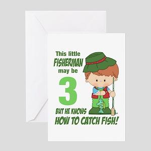3 Year Old Fisherman Greeting Card