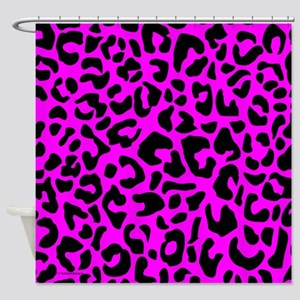 Pink and Black Leopard Spot Shower Curtain