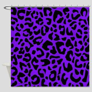 Purple and Black Leopard Spot Shower Curtain