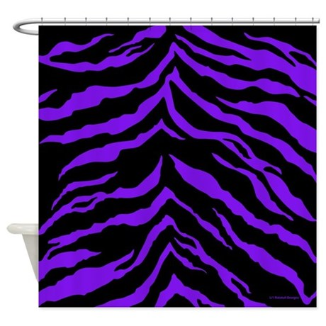 Purple and Black Tiger Stripes Shower Curtain