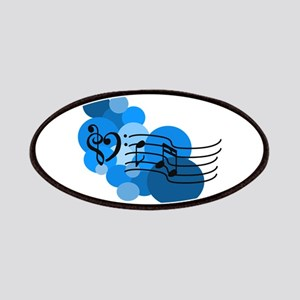 Blue Music Clefs Heart Patches