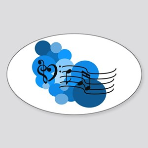 Blue Music Clefs Heart Sticker (Oval)